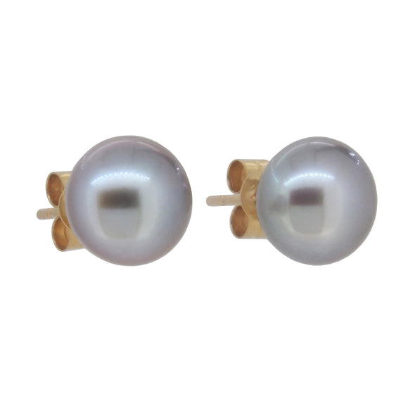 A pair of modern, yellow gold, freshwater pearl set stud earrings