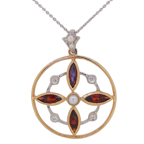 A modern, 9ct yellow gold, garnet, pearl & diamond set pendant & chain