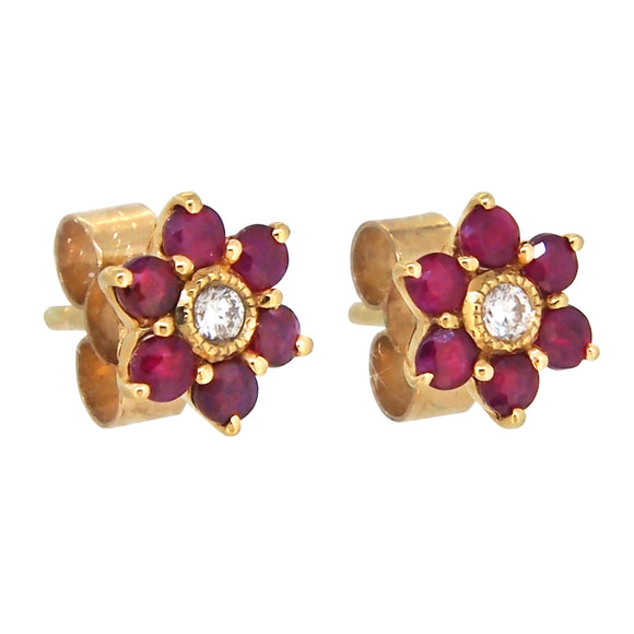 A pair of modern, 9ct yellow gold, ruby & diamond set cluster stud earrings