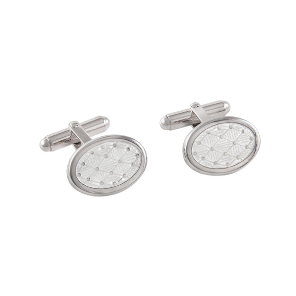A pair of modern, silver, harlequin patterned oval cufflinks