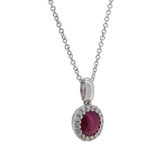 A modern, 18ct white gold, ruby & diamond set, oval cluster pendant & chain