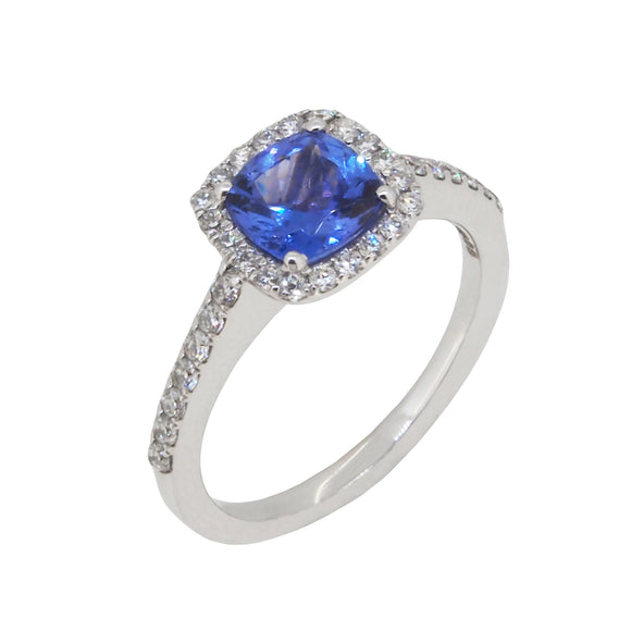 A modern, 18ct white gold, tanzanite & diamond set cluster ring