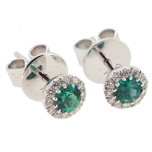 A pair of modern, 18ct white gold, emerald & diamond set cluster stud earrings