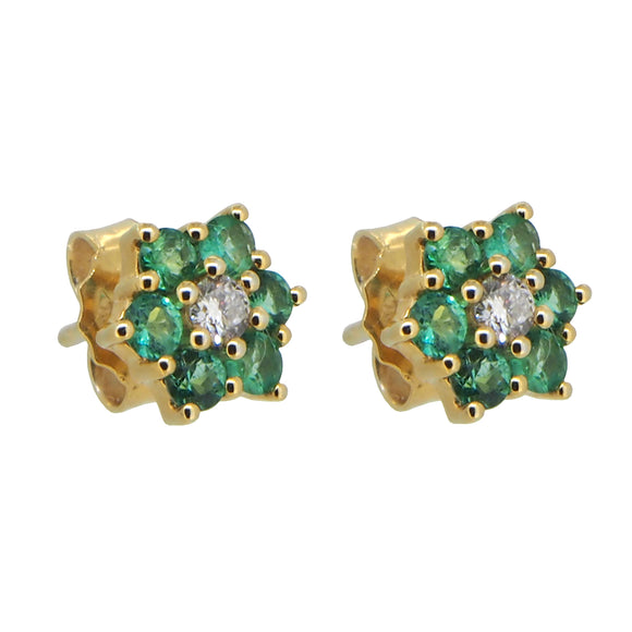 A pair of modern, 9ct yellow gold, emerald & diamond set, cluster stud earrings