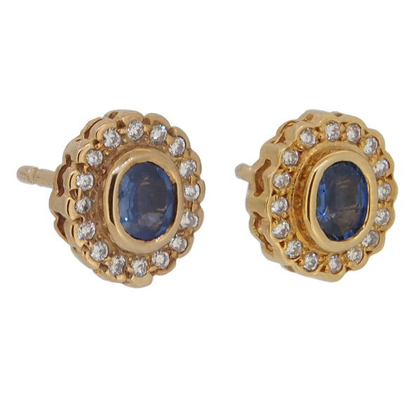 A pair of modern, 9ct yellow gold, sapphire & diamond set, cluster stud earrings