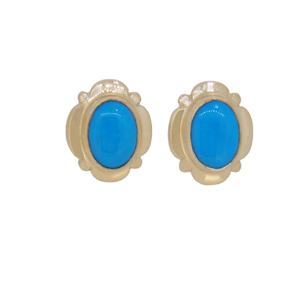 A pair of modern, 9ct yellow gold, turquoise set, oval stud earrings