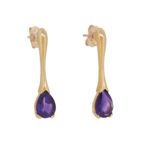 A pair of modern, 9ct yellow gold, amethyst set drop earrings