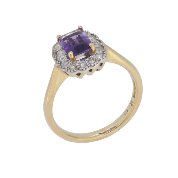 A modern, 9ct yellow gold, amethyst & diamond set cluster ring
