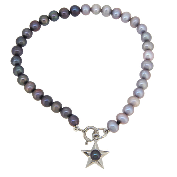 A modern, two coloured pearl bracelet, with a pearl set silver star