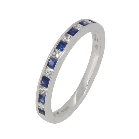 A modern, 18ct white gold, sapphire & diamond set half eternity ring