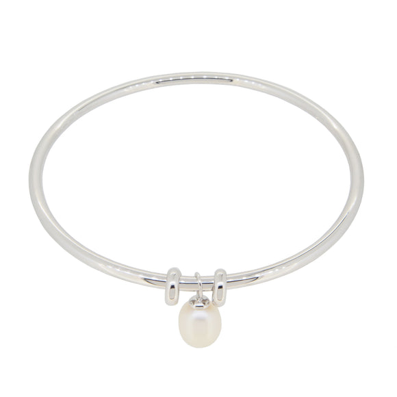 A modern, silver, drop pearl set bangle
