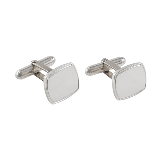 A pair of modern, silver, square cufflinks