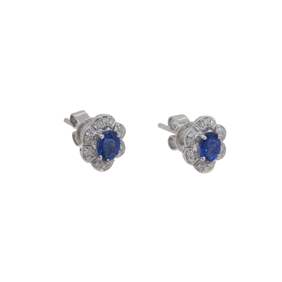 A pair of modern, 18ct white gold, sapphire & diamond set cluster stud earrings