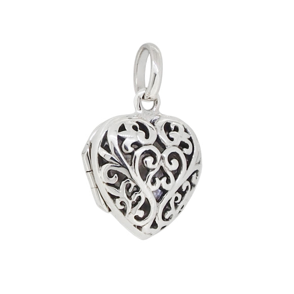 A modern, silver, heart shaped locket with a pierced front