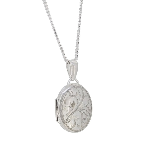 A modern, silver, engraved, oval locket & chain
