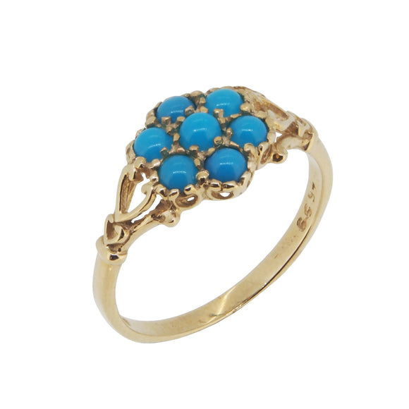 A modern, 9ct yellow gold, turquoise set cluster ring