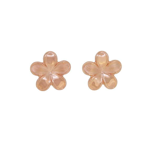A pair of modern, 9ct rose gold, flower style stud earrings