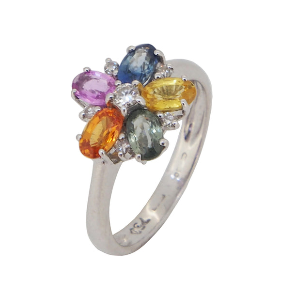 A modern, 18ct white gold, multicoloured sapphire & diamond set cluster ring