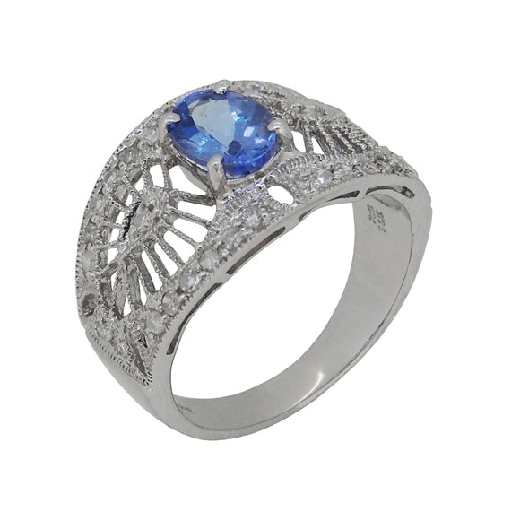 A modern, Art Deco Style, 14ct white gold, tanzanite & diamond set ring