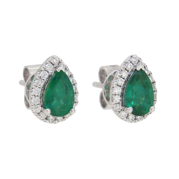 A pair of modern, 18ct white gold, emerald & diamond set stud earrings