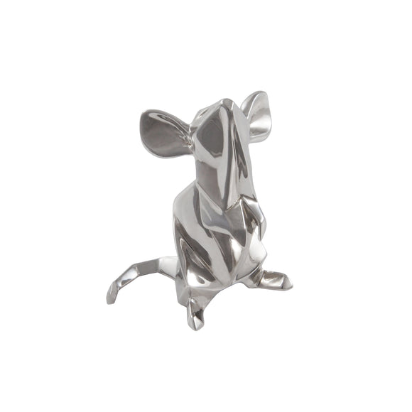 A modern, silver, origami style model of a mouse