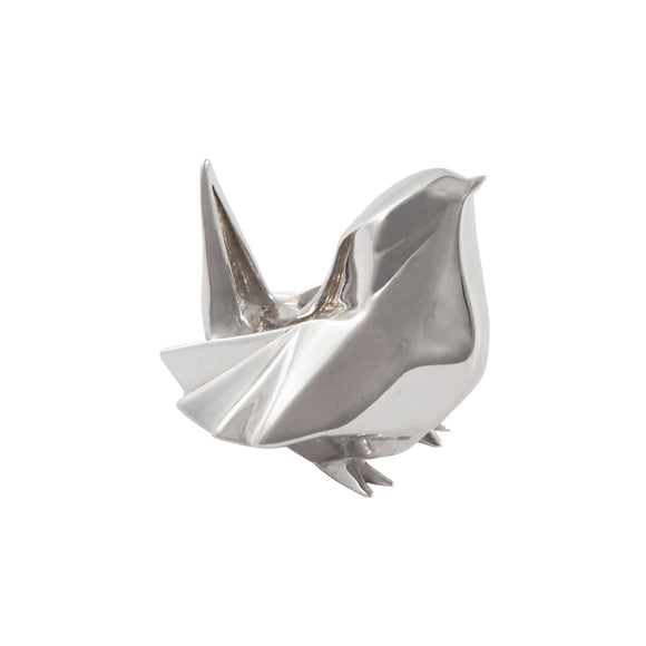 A modern, silver, origami style model of a wren