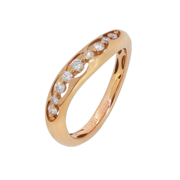 A modern, 18ct rose gold, diamond set half eternity ring