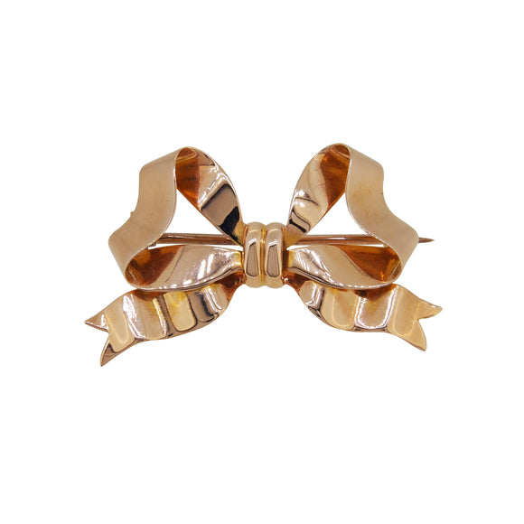 An Edwardian, 15ct yellow gold bow brooch