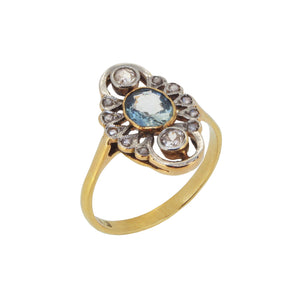 An early 20th century, 18ct yellow gold, aquamarine & diamond set, abstract cluster ring