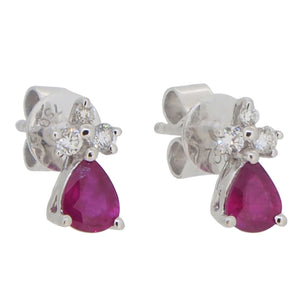 A pair of 18ct white gold, ruby & diamond set cluster stud earrings