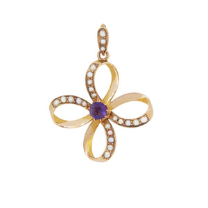 An Edwardian, yellow gold, amethyst & seed pearl set pendant