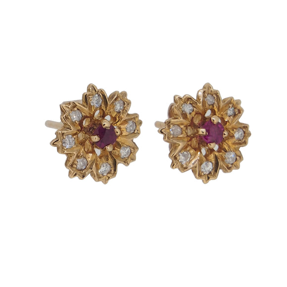 A pair of modern, 9ct yellow gold, ruby & diamond set, floral stud earrings
