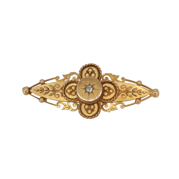 A Victorian, 15ct yellow gold, diamond set, shot & grain brooch