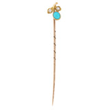 An early 20th century, 9ct yellow gold, turquoise & pearl set, cherry style stick pin