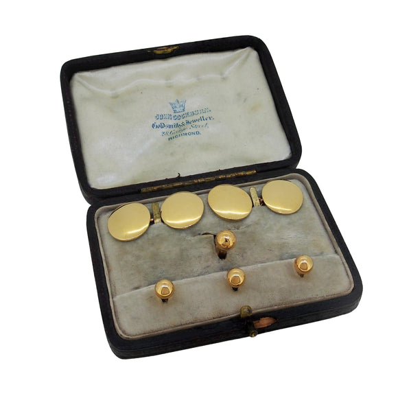An early 20th century, 18ct yellow gold dress set & fitted case