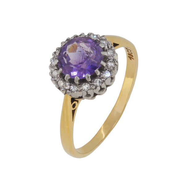 A modern, 18ct yellow gold, amethyst & diamond set cluster ring