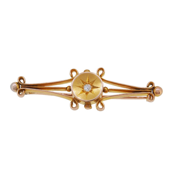 An Edwardian, yellow gold, diamond set bar brooch
