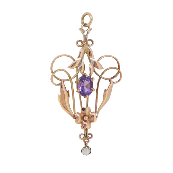 A Victorian, yellow gold, amethyst & seed pearl set pendant