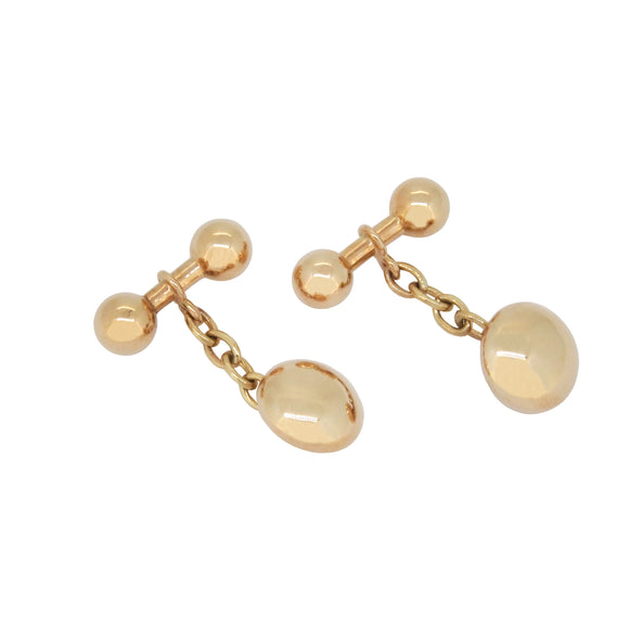 A pair of mid 20th century, 9ct yellow gold, ball & bar, chain link cufflinks