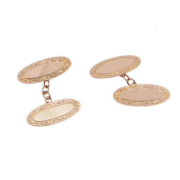 A pair of Edwardian, 9ct rose gold, oval cufflinks