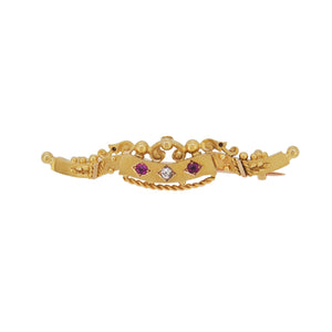 An Edwardian, 15ct yellow gold, red spinel & diamond set bar brooch