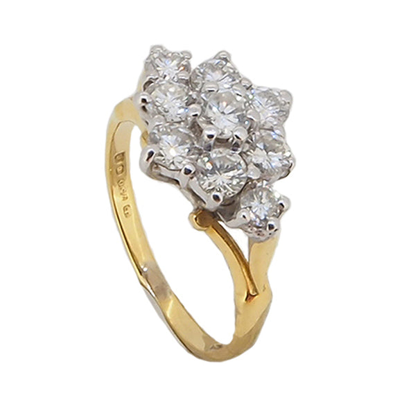 A modern, 18ct yellow gold, diamond set cluster ring