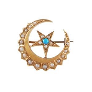 An Edwardian, 18ct yellow gold, turquoise & pearl set crescent star brooch