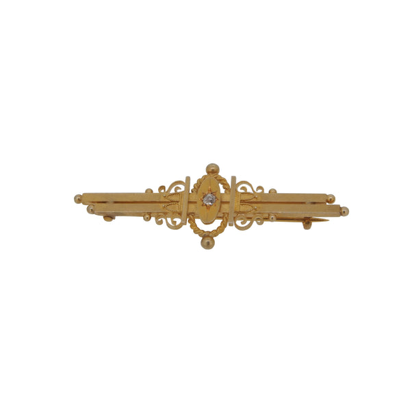 A Victorian, 15ct yellow gold, diamond set, double bar brooch & fitted case