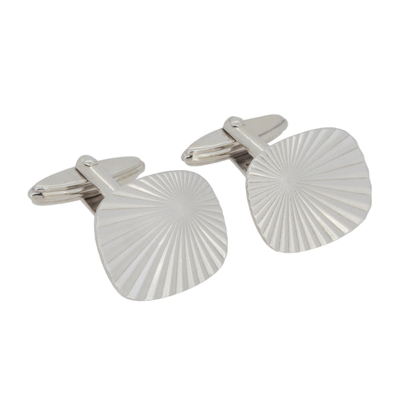A pair of silver, square, sun ray cufflinks