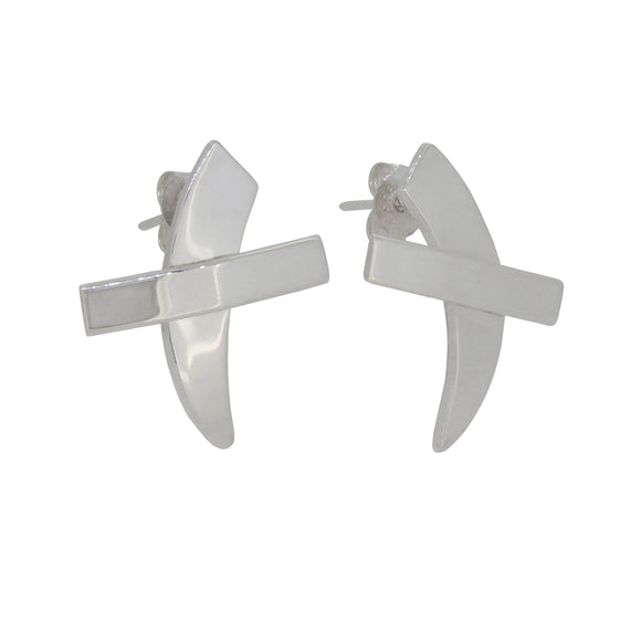 A pair of modern, silver, kiss stud earrings