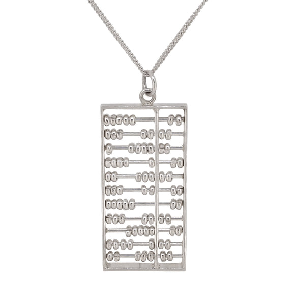 A modern, silver abacus pendant & chain