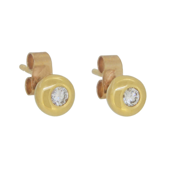 A pair of 18ct yellow gold, diamond set stud earrings
