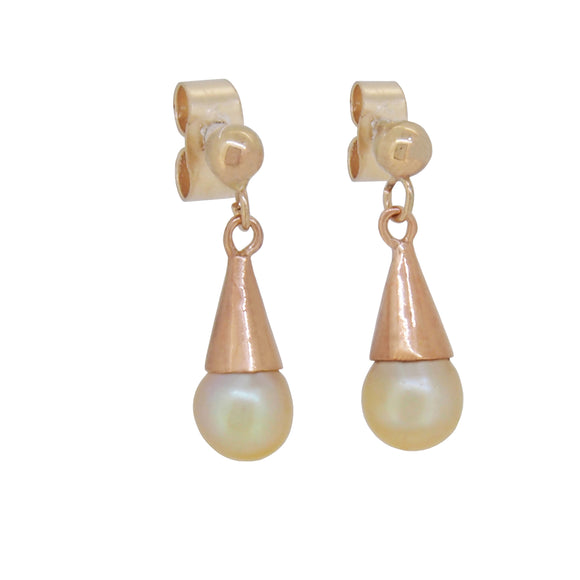 A pair of early 20th century, 9ct yellow gold, pearl set drop earrings