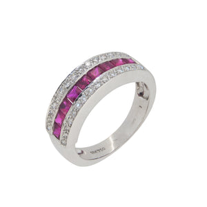 A modern, 18ct white gold, ruby & diamond set, three row, half eternity ring